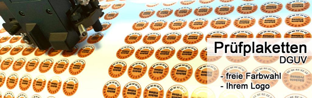 Prüfplaketten mit Ihrem Logo und Ihrer Wunschfarbe